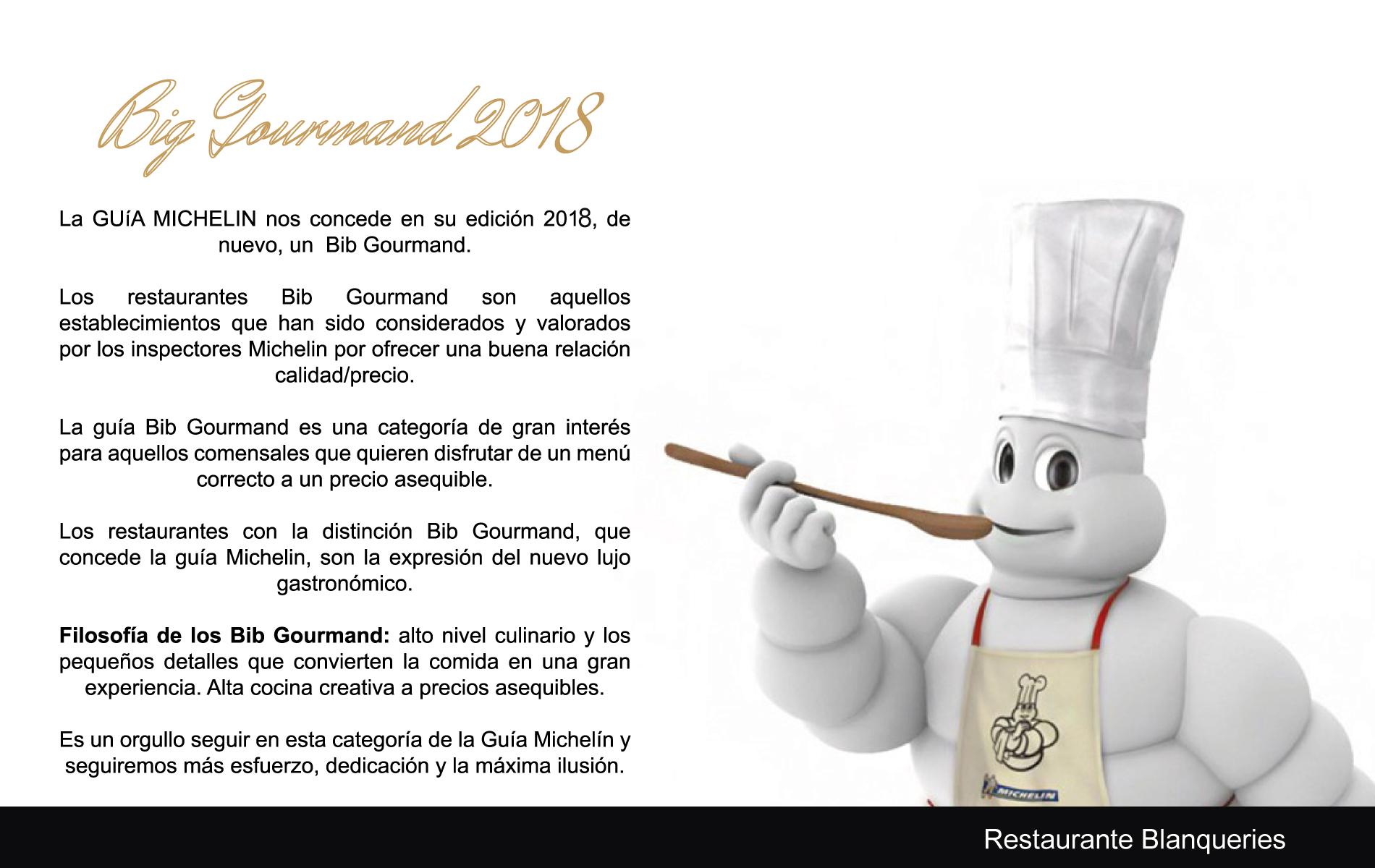 Blanquerias recibe, otro año más, el galardón de BigGourmand otorgado por la Guía Michelin: Calidad de Estrella a precios asequibles